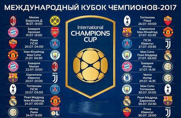 Международны Кубок Чемпионов 2017 Расписание матчей